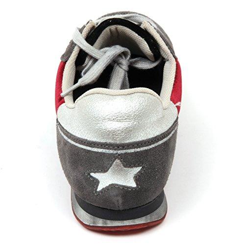 C6202 sneaker donna ISHIKAWA scarpa grigio/bordeaux pelle/velluto shoe woman grigio/bordeaux