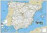 España carreteras mapa–Papel laminado–tamaño A0–84,1x 118.9cm