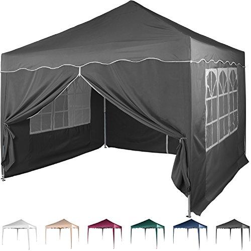 Faltpavillon 3x3 m mit 4 Seitenteilen, WASSERDICHT, Farben wählbar, inkl. Tragetasche + Zubehör, versiegelte Nähte, DIN ISO zertifiziert, Weiß Champagner Blau Grün Burgund Rot Anthrazit Schwarz