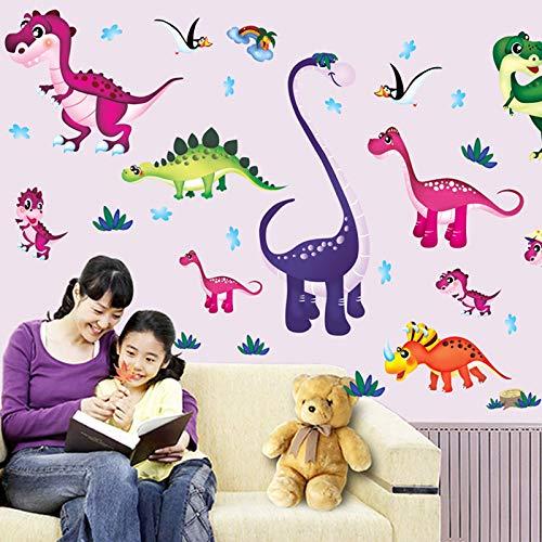 WHDXYM Cartoon Dinosaurier Sterne Mond Wandaufkleber Kinderzimmer Kindergarten Wandmalerei Poster Dekoration Dinosaurier Paradies Wand Grafik Art Deco -