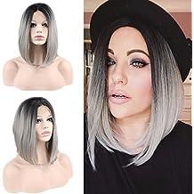eseewigs marrone Cheap Bob parrucca con frangia laterale sintetica resistente al calore taglio capelli per le donne