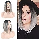 Eseewigs Kurze Bob-Perücke, glatt, schwarzer Ansatz graue Enden, Kunsthaar-Perücke, zweifarbig, hitzebeständige Kunstfaser-Perücke für modebewußte Frauen