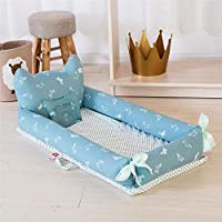 Ustide Baby Bassinet Cute Dog Fashion Crown Design Baby Lounger Breathable Hypoallergenic Co-Sleeping Baby Bed 100% Cotton Portable Crib with Pillow for Bedroom/Travel