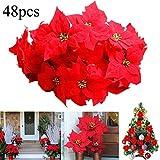 JUSTDOLIFE 48PCS Ornamento dell Albero di Natale del Fiore Artificiale Decorativo del Fiore di Natale (48 PCS Red) (Red Flower)