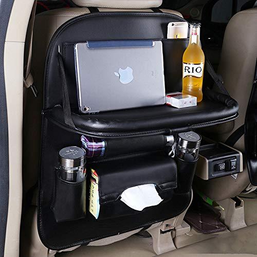 PULUSI Auto-Rücksitz-Organisator,1-Packung wasserdichte PU-Leder-Auto-Korb-Multifunktionsauto-Speicher-Tasche mit Tabellen-Halter für reisendes Speicher-Gewebe, Flaschen Schwarz -