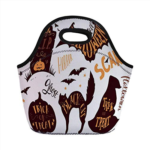 Portable Bento Lunch Bag,Vintage Halloween,Halloween Symbols Trick or Treat Bat Tombstone Ghost Candy Scary Decorative,Dark Brown Orange,for Kids Adult Thermal Insulated Tote Bags