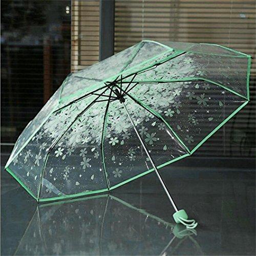 samLIKE Regenschirm,Transparenter klarer Regenschirm Kirschblüten Pilz Apollo Sakura 3 Falten Regenschirm (Grün)