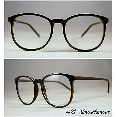 Brick Lane VTG Vintage negro Retro Geek Wayfarer Nerd moda marco negro ronda gafas lente claro gafas mundo ojo