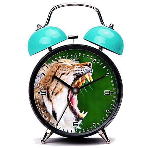 girlsight Blauer Wecker, Nette Katze Lynx Bobcat brüllende gähnende Zähne Katze Twin Bell Wecker mit Nachtlicht - Bobcat Lynx