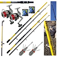 Lineaeffe SEA FISHING SET UP - 2 X 12FT BEACHCASTER RODS + 2 X SEA REELS + WEIGHTS + RIGS