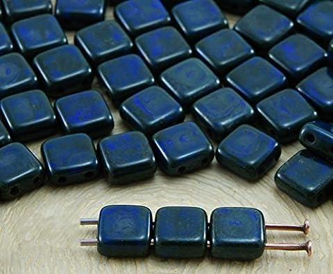 40pcs Picasso Brun noir Opaque Bleu Saphir Tuile Plate Carrée 2 Deux Trou de Verre tchèque Perles de 6mm