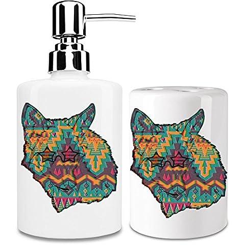 Hipster Coyote Dispensador de jabón y Porta Cepillo de dientes