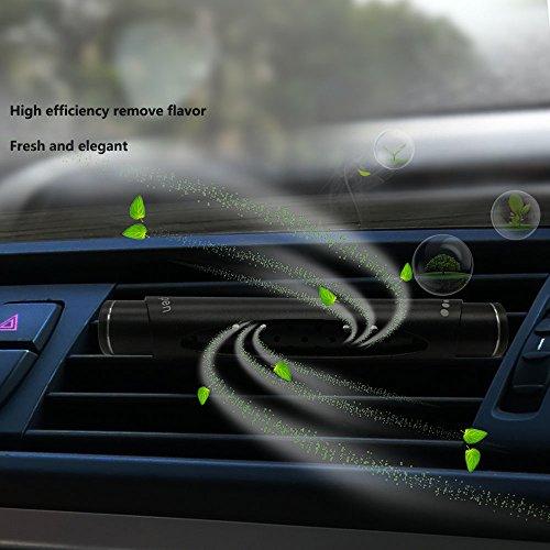 Metal Shell Car Solid Aromatherapie Stick Erfrischender Lufterfrischer im Autoauslass montiert Abnehmbares Aroma Luft Diffusor mit 3 Duftstäbchen, Köln, Zitrone, Gardenie (schwarz+3 Diffuser Reeds)