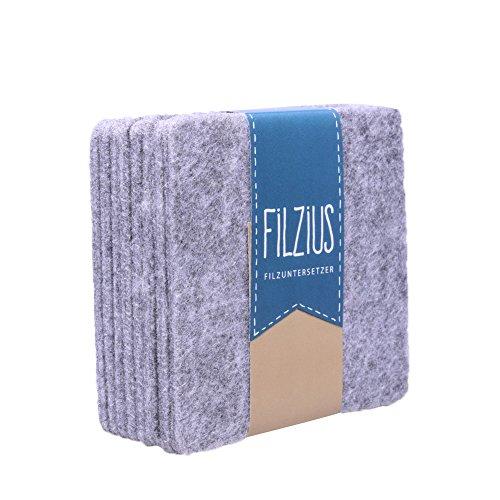 Filzuntersetzer Filzius® 8er Set in verschiedenen Farben - hochwertiges Recycling Filz - viereckig - quadratisch - Getränkeuntersetzer - Untersetzer für Gläser und Tassen - hellgrau