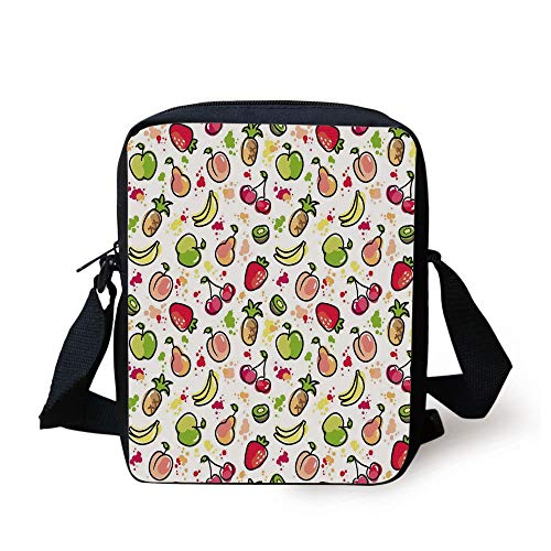 Fruits,Watercolor Pear Cherries Kiwi Apple Brushstroke Splashes Cute Kids Kitchen Decorative,Peach Lime Green Red Print Kids Crossbody Messenger Bag Purse -