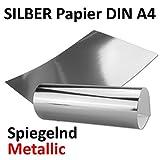 Silber Metall Spiegel Papier | 20er-Set | Blanko glänzendes metallic Papier, spiegelnd silber | Rückseite Weiß und Bedruckbar | DIN A4 210 x 295 mm |in hochwertiger Geschenkschachtel/Aufbewahrungsbox