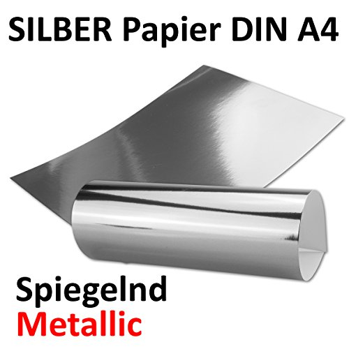 Silber Metall Spiegel Papier | 20er-Set | Blanko glänzendes metallic Papier, spiegelnd silber |...