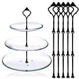 Black : Happy Will 5 Sets 3 Tier Crown Cake Stand Fruit Cake Plate Handle Fitting Hardware Rod Stand Holder with Stylus Black (Plates Not Include)