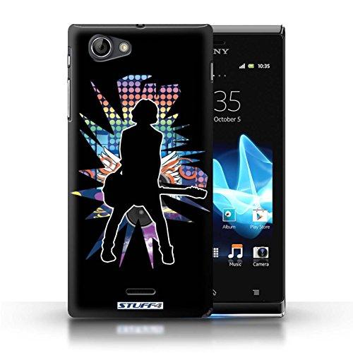 Kobalt® Imprimé Etui / Coque pour Sony Xperia J (ST26i) / Elvis Blanc conception / Série Rock Star Pose émotion Noir