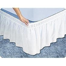 Scala 1PCs Wrap Around falda de cama(Blanco Sólido , Reino Unido doble 135x 190 cm (4ft 6 in x 6ft 3in) , Drop Length 38cm) 100% de algodón egipcio Alta Calidad 300 Thread Count