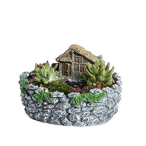 Ncyp Creative Fairy Garden miniature Log Cottage en Clôture de roche Pot de fleurs Cottage Sculpture Sweet House Pot de fleurs Gris pour décoration pas de plantes
