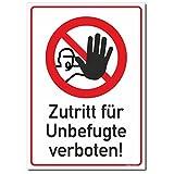 Schild Zutritt verboten, Zutritt für Unbefugte verboten, DIN 4844, Format 300 x 213 mm (C) Aluverbundplatte