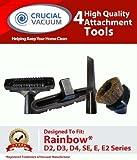 Rainbow D2D3D4SE E E2Befestigung Tool Kit Fit, (inkl.) 1Staubbürste, 1Fugendüse, 1Bodendüse, 1Polsterdüse, entworfen und hergestellt von Crucial Vacuum