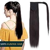 Queue de Cheval Extension Naturel 100% Vrai Cheveux Humain Rajout Lisse - Ponytail Hair Extensions Attaché par Bande Agrippantes Adhésives - #1B NOIR NATUREL - 16'(40cm)