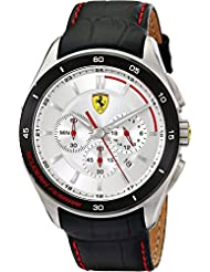 Scuderia Ferrari Gran Premio Mens Black Leather Chronograph Date Watch 0830186