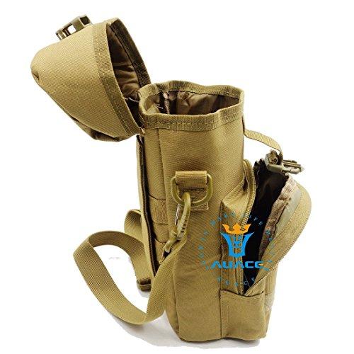 Multifunzione sopravvivenza Gear Pouch Tattico Molle Pouch bottiglia d' acqua Pouch Bag, Bollitore da campeggio borsa a tracolla Messenger Bag vita Bag Custodia da viaggio, OD KH