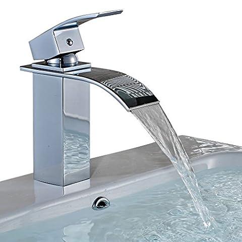 Auralum® Mitigeur pour Lavabo Robinet à monocommande avec cascade pour cuisine et salle de bain