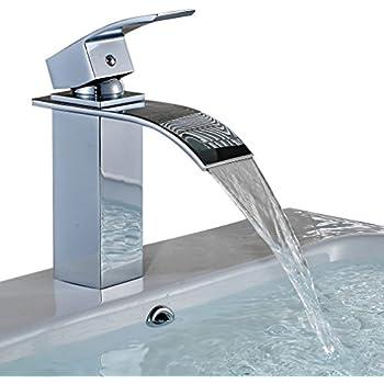 Auralum elegante lucidato miscelatore rubinetto di vetro - Rubinetto bagno cascata ...