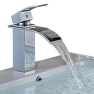 Auralum® Rubinetto miscelatore monoleva Elegant, a Cascata, per lavabo