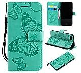Amocase Schutzhülle aus Leder mit 2-in-1-Eingabestift für iPhone 7, Premium-Band, 3D-Schmetterling, magnetisch, PU-Leder, Standfunktion, stoßfest, Kartenschlitz, für iPhone 7/8 grün