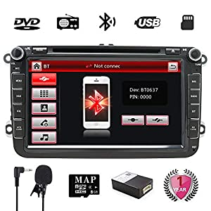 gps navigation: Golf Double Din 8 inch Car Stereo with DVD/GPS Navigation/RDS/Bluetooth/Wheel Co...