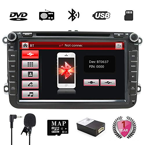 Golf Double Din 8 inch Car Stereo with DVD/GPS Navigation/RDS/Bluetooth/Wheel...