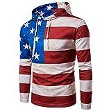 BaronHong Herren Langarm Leichte Streifen Amerika Flagge Sweatshirt Hoodie (flag, M)