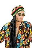 Jamaikamütze Rastalocken + Peacebrille Cannabis oder Peacezeichen Reggae Bob