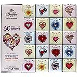 Dolfin Assortimento di 60 Mini Carrè Stampa Cuore in Cioccolato al Latte 38%, Latte e Nougatine, Fondente 70%, Fondente e Nou