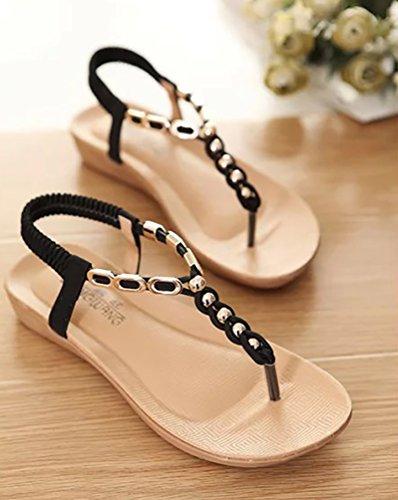 YOUJIA Femmes Tongs Chaussures Bohemia Douces Sandales Clip Toe Sandals Chaussures De Plage Noir