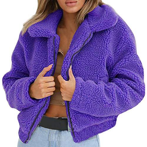 Btruely Mantel Damen Oversize Pullover Warmer künstlicher Wollmantel Reißverschluss Jacke Große...