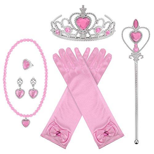 8 Stücke Prinzessin Dress-up Party Zubehör mit Krone Wand Handschuhe Halskette Ohrringe Ring Set (Rosa)