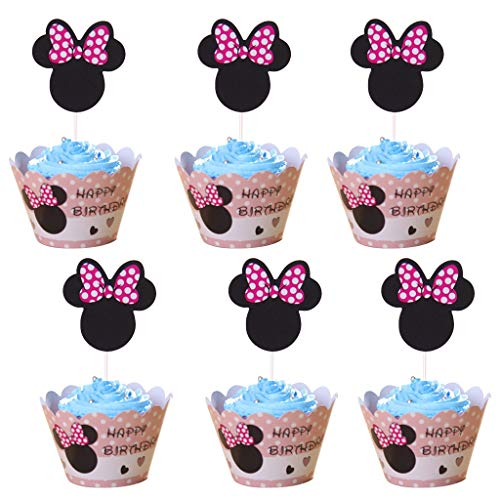 Amycute 24 Stücke Mouse Kuchendekoration Cupcake Toppers und Wrappers Verpackung, Handmade für Kinder Party Kuchen Dekoration Geburtstag Deko Party Gegenstände. - Maus-party Minnie Dekorationen