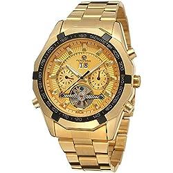 Forsining Men's Luxury Stainless Steel Automatic Calendar Anglog Steel Bracelet Wristwatch FSG340M4G3
