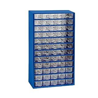 Schubladenmagazin, Schubladen glasklar - HxBxT 551 x 306 x 155 mm, 60 Schubladen - Gehäuse ultramarinblau - Klarsichtmagazin Kleinteilemagazin Lagersystem Magazin Magazinschrank Schubladenmagazin Schubladenschrank Schubladensystem