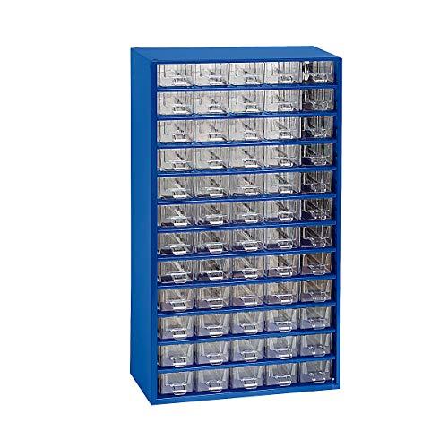 Certeo Schubladenmagazin aus Stahl | HxBxT - 551 x 306 x 155 mm | 60 transparente Schubladen| Gehäuse ultramarinblau| Kleinteilemagazin Klarsichtmagazin