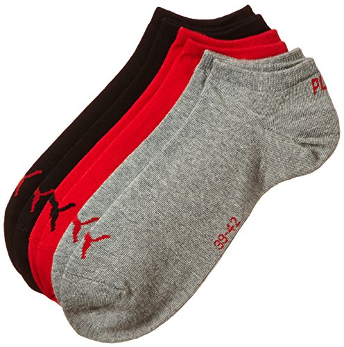 Puma Unisex Sportsocken Invisible 3er Pack, schwarz/rot/Grau, 35/38, 251025 - Damen Outdoor-quarter Socken