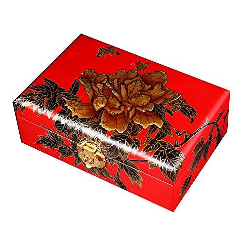 irugh Schmuck-Box, Holz, chinesische Aufbewahrungsbox, Dressing Box, Schmuckkästchen, Lack Schmuckschatulle, Schmetterling Pfingstrose -
