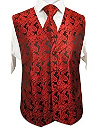 Festliches Westenset 3tlg rot schwarz paisley Hochzeitsweste Paul Malone