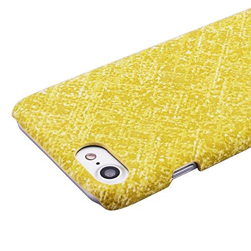 GrandEver iPhone 7 Hartschale Hülle Bumper Hardcase Rückschale Schutzhülle Schwarz Hart Hüllen Dünne Ultra Slim Schutz Etui Rückseite Clear Case Protective Skin Cover Dünne Leicht Luxus Handy Tasche P Gelb